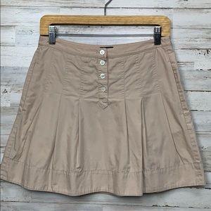 JCrew pleated khaki mini skirt size 2